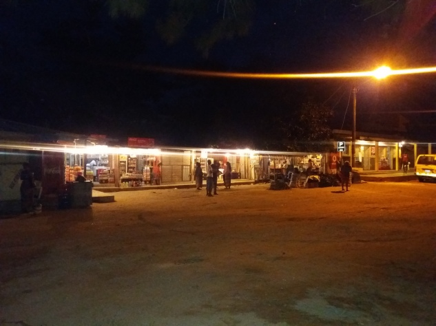 The market at night (liquor store section)